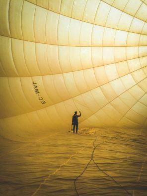 Inside a hot-air balloon